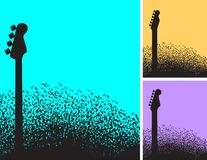Choice of three musical note and guitar background stock illustration