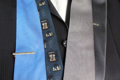 Choice of ties. Some ties on a choice to a business suit Stock Photography