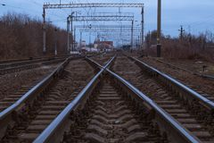 The fork of the railway tracks. royalty free stock photos