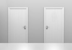 Choice of two doors to different choices or decisions, 3D rendering. 3D render of two white doors representing different choices to pick from Stock Photo