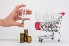 The choice between the type of light bulbs - LED, energy saving, incandescent stock photos