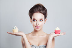 Choice. Unhealthy Food. Woman Holding Sweet Stock Image
