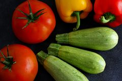 Choice of vegetables on dark board Stock Photography
