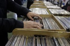 Choice of vinyl records. At the market Stock Image