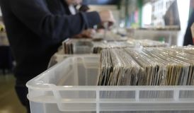 Choice of vinyl records. At the market Stock Images
