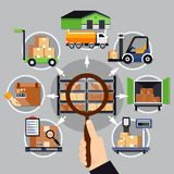 Choice Of Warehouse Composition. On grey background with magnifier in hand, logistic services vector illustration Stock Image