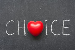 Choice. Word handwritten on blackboard with heart symbol instead of O Royalty Free Stock Image