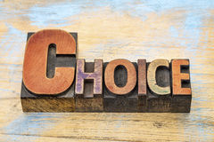 Choice word in wood type Stock Photography