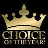 Choice of the year. Best choice label- gold crown Royalty Free Stock Image