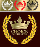 Choice of the year. Best choice label- gold crown and gold star Royalty Free Stock Images