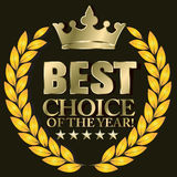Choice of the year. Best choice label- gold crown and gold star Royalty Free Stock Photography
