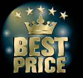 Choice of the year. best price. Best choice label- gold crown and gold star Stock Photography