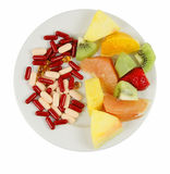 Choices. Vitamin choices on a plate:natural and artificial.......you must chose!!!...educational nutritional image Stock Photos
