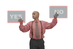 Choices. Businessman making choices isolated against a white background Stock Photography