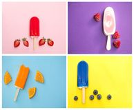 4 choices of colorful popsicle. Collage of 4 photographes with different kind of popsicle with different colours as a background Royalty Free Stock Images