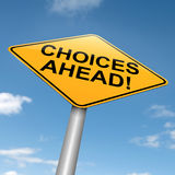 Choices concept. Illustration depicting a directional roadsign with a choices concept. Blue sky background Stock Images