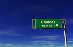 Choices - Freeway Exit Sign Stock Image