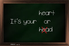 Choices of heart and head. Choices between head and heart written on a blackboard Royalty Free Stock Photography