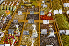 Choices of herbs and spices at a market in France Royalty Free Stock Images