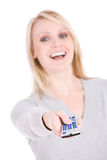 Choices: Laughing Woman With Remote Control Stock Images