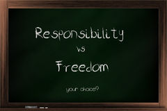 Choices of responsibility and freedom. Choices between responsibility and freedom written on a blackboard Royalty Free Stock Photo