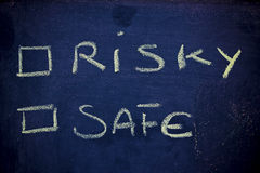Choices: risk vs. safety Stock Photos