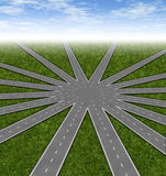 Choices and strategies symbol. Represented by a network of roads and highways merging to a center point showing many options and paths available to a team and Stock Photos