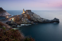 Choiesa a Portovenere. Church of S Pietro to Portovenere in the evening Royalty Free Stock Photo