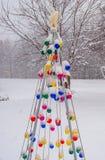 Choinek światła w śniegu fotografia royalty free