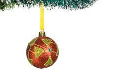 Choinek dekoracje - piłka pojedynczy białe tło Zdjęcia Royalty Free