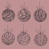 Choinek piłki z iglastym ornamentem Royalty Ilustracja
