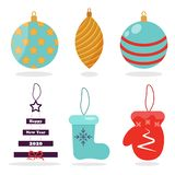 Choinek zabawki Boże Narodzenia bawją się wektorowe dekoracji piłki, gwiazdy, mitynka, filc buty dla dekoracji choinek zabawek we ilustracja wektor