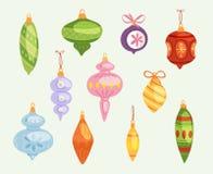 Choinka bawi się wektorowe dekoracj piłki, okrąg, gwiazdy, dzwony dla dekoruje nowego roku Xmas drzewne zabawki na gałąź ilustracja wektor