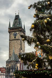 Choinka blisko Starego urzędu miasta, Praga, republika czech Zdjęcia Stock