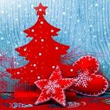 Choinka, dekoracje i śnieg Obrazy Stock