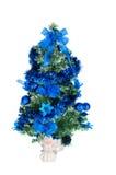 Choinka dekorująca z błękitny zabawkami i aniołem Fotografia Royalty Free