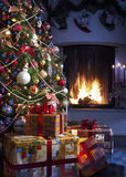 Choinka i Boże Narodzenie prezent Zdjęcia Royalty Free