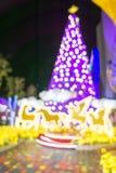 Choinka i bokeh światło z renifera światłem Fotografia Royalty Free
