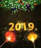Choinka i dekoracja dla nowego roku ilustracja wektor