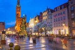 Choinka i dekoracje w starym miasteczku Gdański Zdjęcie Royalty Free