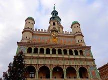 Choinka i fasada Renesansowy urząd miasta Obraz Stock