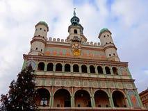 Choinka i fasada Renesansowy urząd miasta Zdjęcia Royalty Free