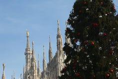 Choinka i gothic katedra Milan w Italy Obraz Royalty Free