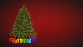 Choinka i prezenty wiruje na czerwonym tle zdjęcie wideo