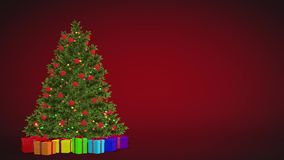 Choinka i prezenty wiruje na czerwonym tle Bezszwowa zapętlająca animacja royalty ilustracja