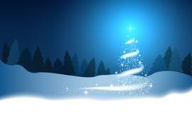 Choinka, miecielica, gwiazdy, śnieg, royalty ilustracja