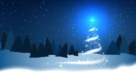 Choinka, miecielica, gwiazdy, śnieg, niebo, noc, drewno, błękitny ilustracja wektor