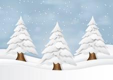 Choinka na zima sezonu krajobrazu papieru sztuki stylu Zdjęcie Stock