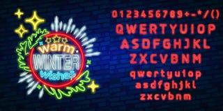Choinka neonowy znak, jaskrawy signboard, lekki sztandar Nowego Roku logo, emblemat i etykietka, Neonowego znaka twórca ilustracja wektor