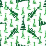 Choinka obrazu zielony atrament doodle bezszwowy wzoru zdjęcie stock